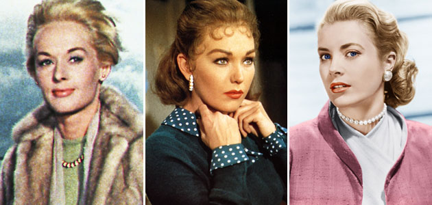 From left to right: Tippi Hedren, Kim Novak, and Grace Kelly. Photo credit: Everett Collection