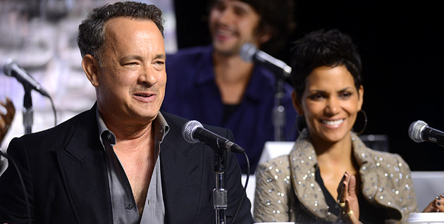 Tom Hanks, left, and Halle Berry at a 'Cloud Atlas' press conference in Toronto on Monday (Photo: Jason Merrit/Getty Images)