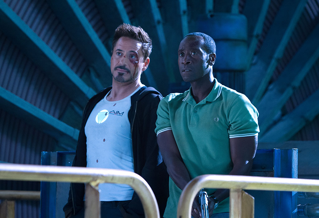Robert Downey Jr. and Don Cheadle in 'Iron Man 3' (Photo: Marvel Studios)