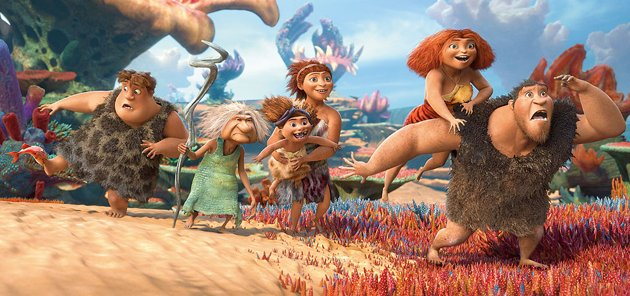 Nicolas Cage's animate likeness (foreground) in DreamWorks Animation's 'The Croods'.