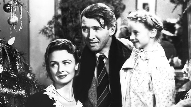 Donna Reed, James Stewart, Karolyn Grimes Wilkerson in It's A Wonderful Life - 1946 (Everett Collection)