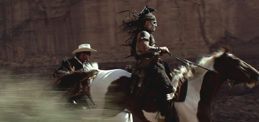 Un-trusty steed: Johnny Depp took a bad spill while filming 'The Lone Ranger' (Photo: Walt Disney Pictures)