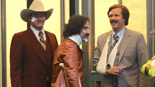 The cast of the 'Anchorman' sequel, all banged up! (Photo: Splash News)