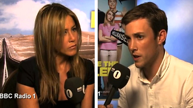 Chris Stark (right) with Jennifer Aniston: 1-2-3 go! (Screengrab from Radio 1/YouTube)