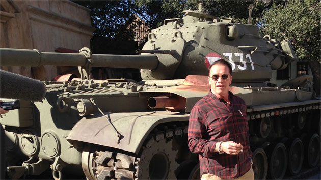 Arnold Schwarzenegger and his M47 Patton tank (Photo: Matt McDaniel)