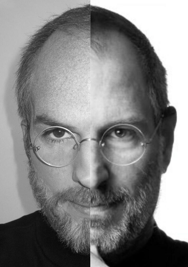 Half Ashton Kutcher, left, and half Steve Jobs (Photo: @aplusk/twitter)
