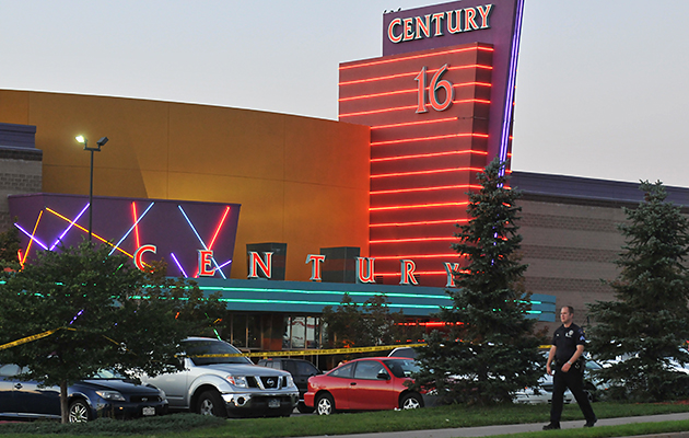 Aurora's Century 16 theater, seen here in the aftermath of the 2012 shooting (Photo: Thomas Cooper/Getty)