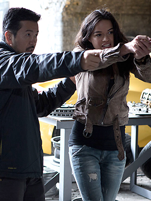 Justin Lin and Michelle Rodriguez on the set of 'Fast 6' (Photo: Universal Pictures)