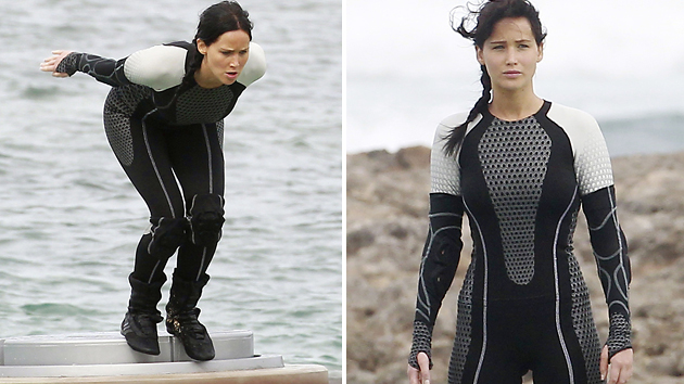 Jennifer Lawrence filming 'The Hunger Games: Catching Fire' (Photo: PacificCoastNews.com)