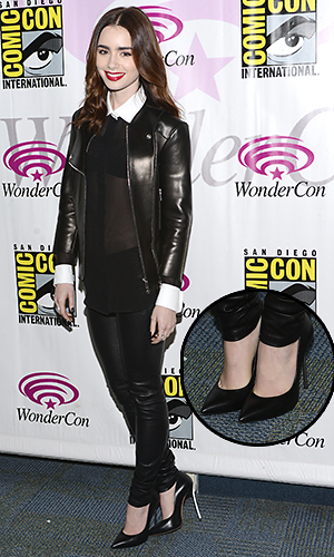 Lily Collins in her perillous heels (Photo: Araya Diaz/WireImage)