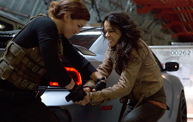Gina Carano and Michelle Rodriguez lay down the girl fight gauntlet in 'Fast 6' (Photo: Universal Pictures)