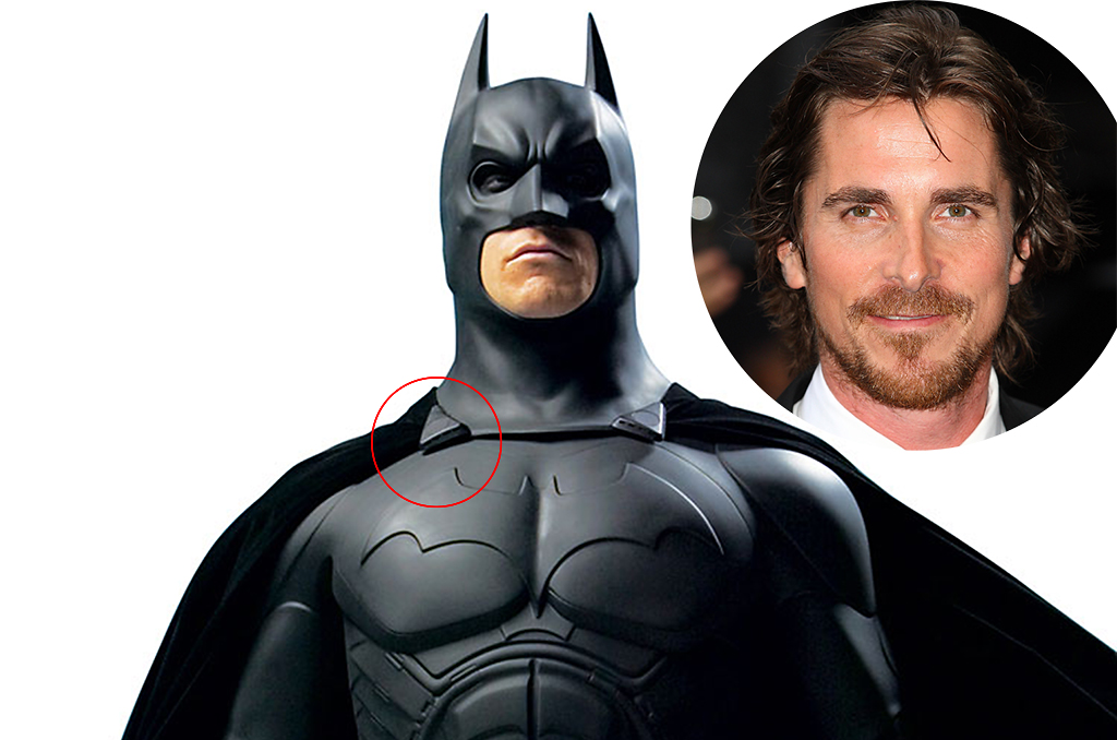You can see tiny speakers on Christian Bale's original Batsuit (Photo: Warner Bros/Inset –Getty)