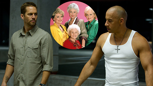 See what Paul Walker, left, and Vin Diesel share with 'The Golden Girls' (Photo: Universal/Everett)