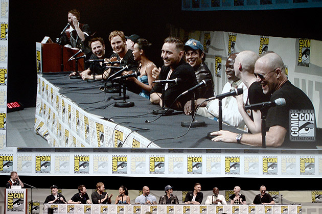 "SAN DIEGO, CA - JULY 20: The cast and crew of ""Guardians of the Galaxy"" speak onstage at Marvel Studios ""Guardians of the Galaxy"" during Comic-Con International 2013 at San Diego Convention Center on July 20, 2013 in San Diego, California. (Photo by Kevin Winter/Getty Images)"
