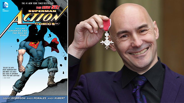 Grant Morrison's run of 'Action Comics' & Morrison showing off after being knighted. Photos courtesy of DC Comics/Getty Images