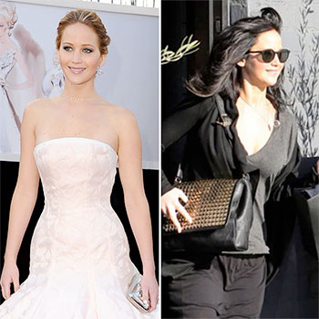 Jennifer Lawrence before and after the Oscars (Photo: Getty Images/AKM-GSI)