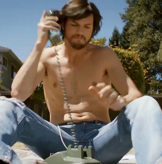 Ashton Kutcher, shirtless Steve Jobs (Photo from Jobsthefilm/Instagram)