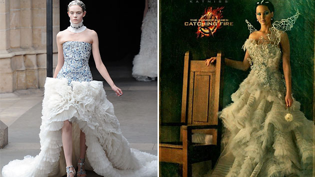 This McQueen Fall '11 gown, left, looks a lot like Katniss' 'Catching Fire' couture (Getty Images/Lionsgate)