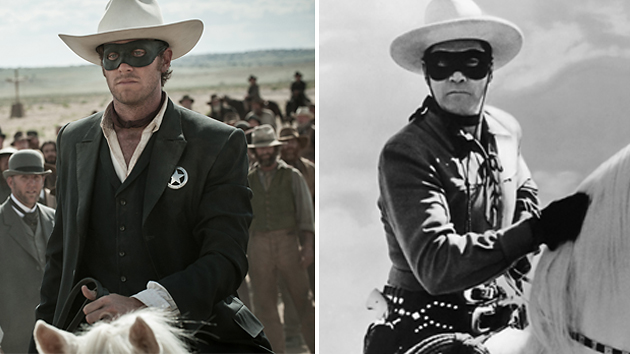 Armie Hammer, left, and Clayton Moore — arguably the most famous masked man (Photo: Walt Disney/Everett)