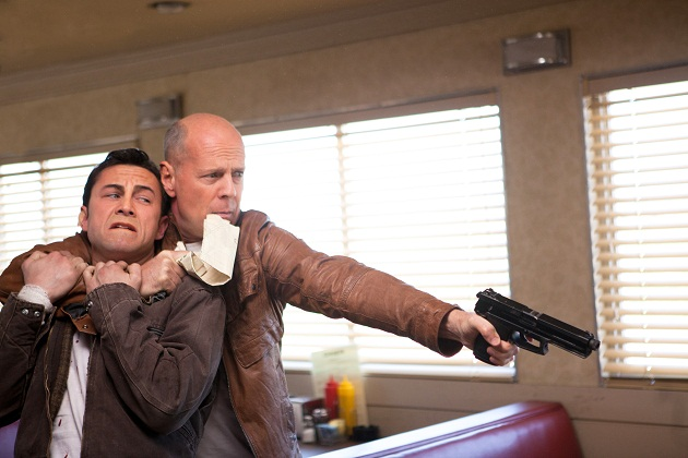Bruce Willis and Joseph Gordon-Levitt in TriStar Pictures'