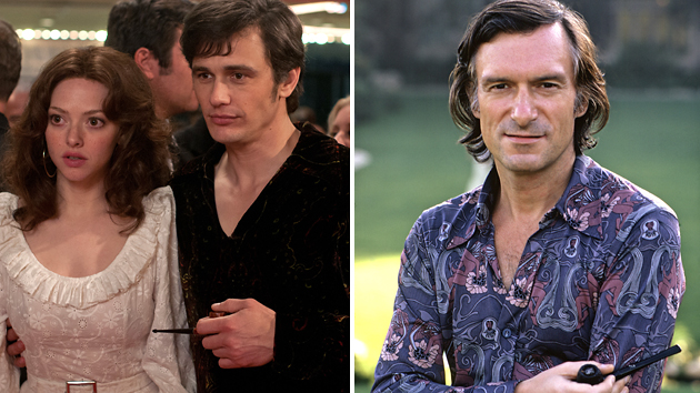 Amanda Seyfried and James Franco in 'Loveless,' and the real Hugh Hefner in 1973 (Photo: Radius/TWC, Everett Collection)