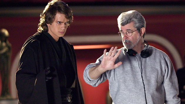 Hayden Christensen and George Lucas on the set of 'Star Wars: Episode III - Revenge of the Sith' in 2005 (Everett Collection)