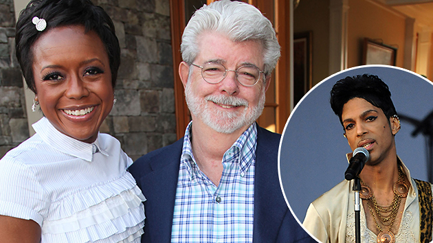 Mellody Hobson, George Lucas, and their special wedding guest Prince (Photo: WireImage/Inset: Getty)
