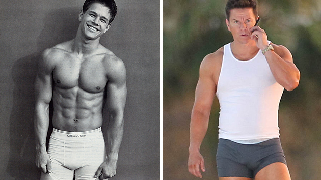 Mark Wahlberg in 1992, left, and during the filming of 'Pain & Gain' (Photo: Calvin Klein/Pacific Coast News)