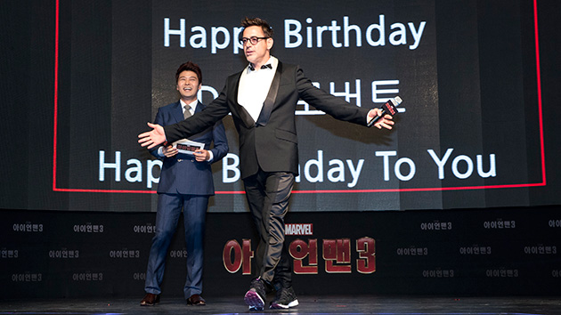 Robert Downey Jr. celebrates his birthday in Seoul, South Korea. (Photo: Gregory Ho Chang/Walt Disney Pictures)