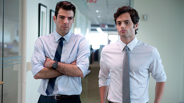 Zachary Quinto and Penn Badgley in 'Margin Call' (Photo: Roadside Attractions)