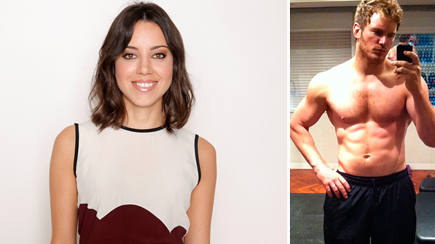 Aubrey Plaza and a hunky Chris Pratt (Photo: Todd Williamson/Invision/AP) Inset – Chris Pratt/Instagram