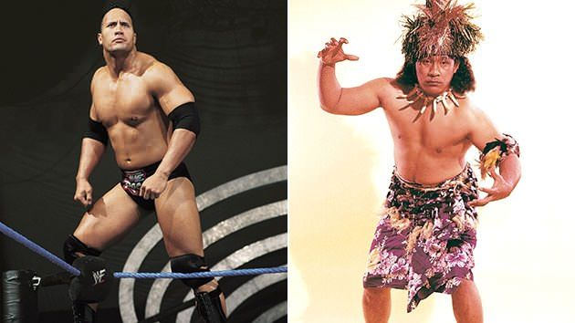 The Rock & 'High Chief' Peter Maivia. Photos courtesy of Everett Collection/Pro Wrestling Illustrated.