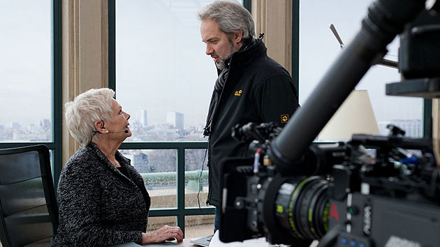 Judi Dench and director Sam Mendes on the set of 'Skyfall' (Photo: Columbia Pictures)