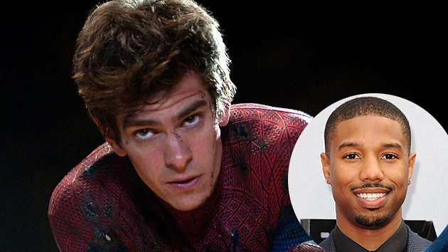 Andrew Garfield as Spiderman and Michael B. Jordan Photo Courtesy of Columbia/Inset: Getty