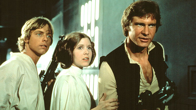 Mark Hamill, Carrie Fisher and Harrison Ford in 1977's 'Star Wars' (Photo: Everett Collection)