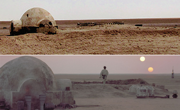 Luke Skywalker's birthplace of Tatooine then, below, and now (Photo: Rä di Martino/20th Century Fox)