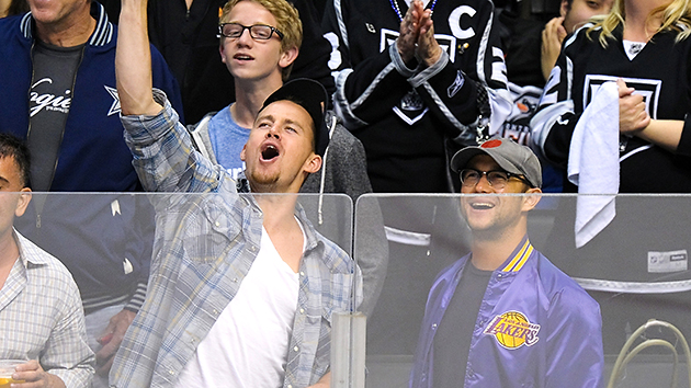 Buddies: Tatum and Gordon-Levitt at a sporting event last year (Photo: Getty)
