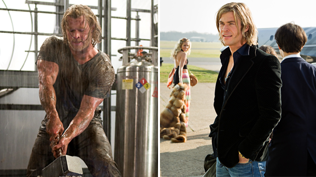 Chris Hemsworth in 'Thor' and in 'Rush' (Photo: Marvel Studios/Universal Pictures)