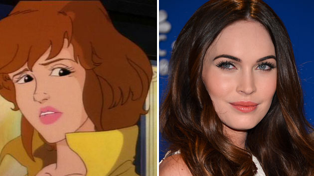 April O'Neil from 'Teenage Mutant Ninja Turtles' and Megan Fox (Photo: TMNT/Getty Images)