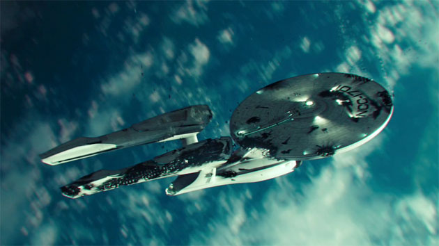 The USS Enterprise falls from the sky in 'Star Trek Into Darkness' (Photo: Paramount Pictures)