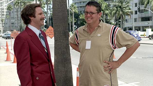 Will Ferrell and Adam McKay on the set of DreamWorks' 'Anchorman: The Legend of Ron Burgundy'