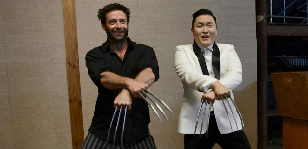 Hugh Jackman, left, and Psy (Photo from Twitter)