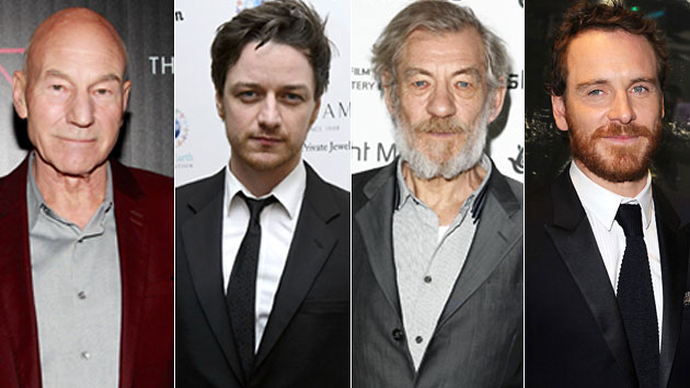 Patrick Stewart (Photo by Charles Eshelman/FilmMagic); James Mcavoy (Photo by Ben Pruchnie/Getty Images); Ian McKellen (Photo by Mike Marsland/WireImage); Michael Fassbender (Photo by Dave J Hogan/Getty Images)<br />