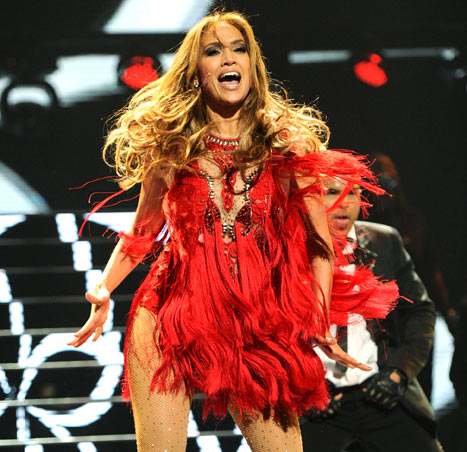 Jennifer Lopez Amazes Vegas Crowd in Tight, Sexy Red Dress