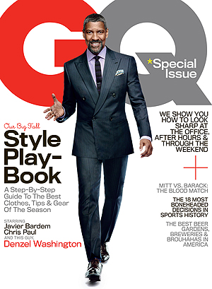 Denzel Washington on the cover of the October issue. (Nathaniel Goldberg/GQ)