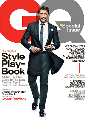 Javier Bardem on the cover of GQ's October issue. Nathaniel Goldberg/GQ