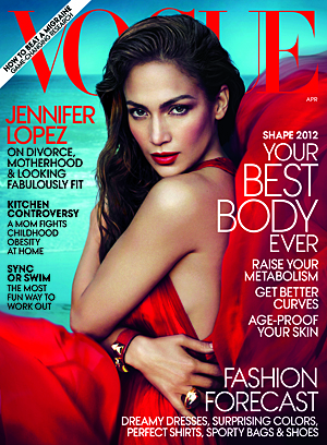 Jennifer Lopez on the cover of Vogue's April issue (Mert Alas and Marcus Piggott/Vogue)