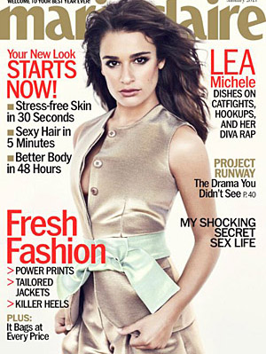 Lea Michele on the cover of the January issue. (Andreas Sjödin/Marie Claire)