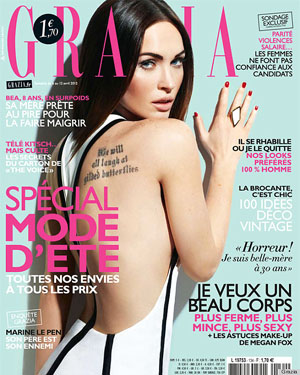 Fox on the cover of Grazia.