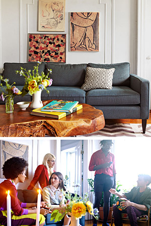 Her home features art she's picked up in New York and Texas. (Paul Costello/Elle)